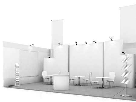 commercio blank mostra stand mock up. illustrazione 3D Archivio Fotografico