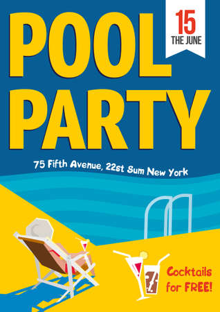 beach party: Pool Party. Creative concept template for poster design.  Vector illustration. Woman relaxed with a cocktail by the pool