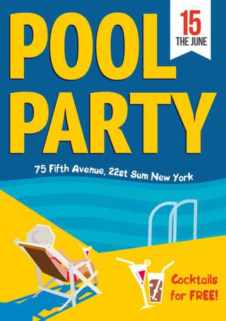 Zwembadfeest. Creatief concept template voor de poster te ontwerpen. Vector illustratie. Vrouw ontspannen met een cocktail aan het zwembad Stock Illustratie