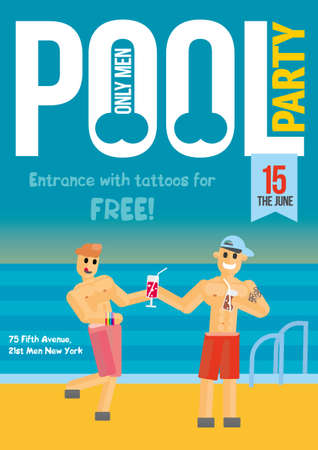 young boy in pool: Gay Pool Party. Creative concept template for poster design. Two guys on the pool background. One other treats cocktail. Vector illustration. Illustration