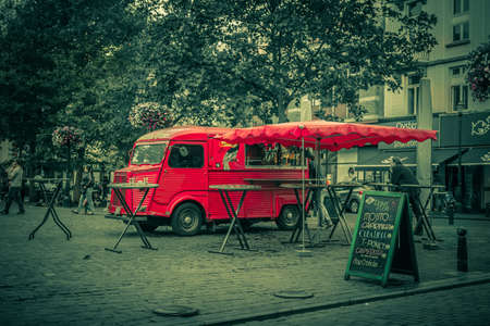 Red Retro Fast Food Truck In The Europe Antique Photo Stock