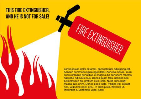 eliminate: Fire safety poster. eliminate fire extinguisher. Vector illustration Illustration