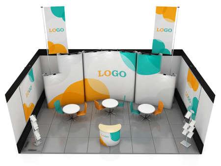 Blank creatieve beursstand ontwerp met kleur vormen. Booth template. Corporate symbolen en huisstijl. 3D-rendering Stockfoto