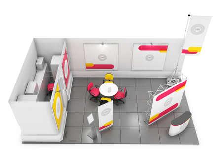 Blank kreativen Messestand-Design mit Farbformen. Booth Vorlage. Korporativsymbolik und Corporate Identity. 3D-Rendering