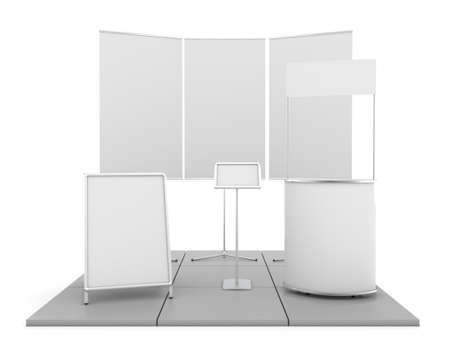trade show: Blank trade show booth mock up. 3D illustration
