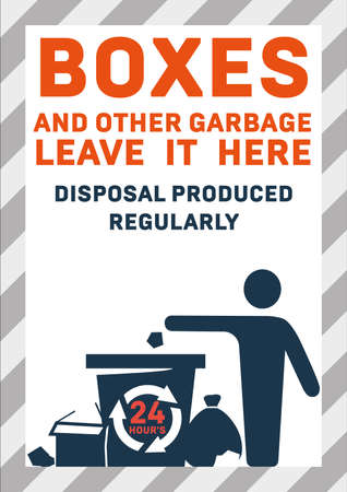 Site waste disposal Vector colorful illustration of office trash