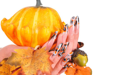 beautiful female nails with autumn theme