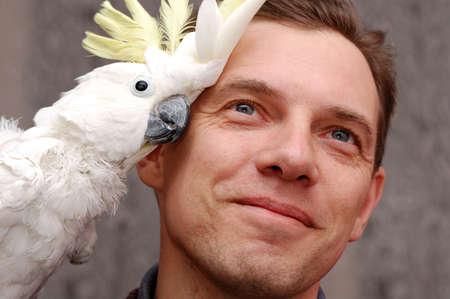 Man with parrot sitting on the shoulder