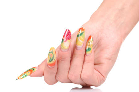 Beautiful manicure on female hands Stock Photo
