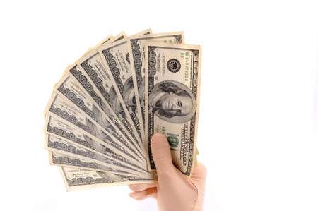 Hand holding dollars banknotes  Stock Photo