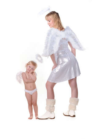 Little angel girl and adult woman angel Stock Photo - 9654805
