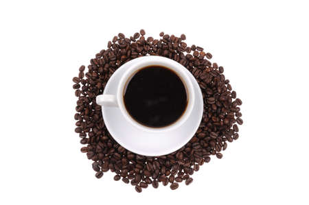 Coffee beans with mug isolated on the white background