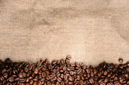 coffee beans on a rough sacking  photo