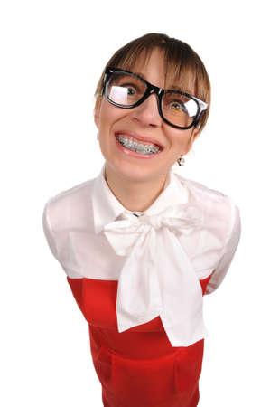 Teacher with braces Stock Photo