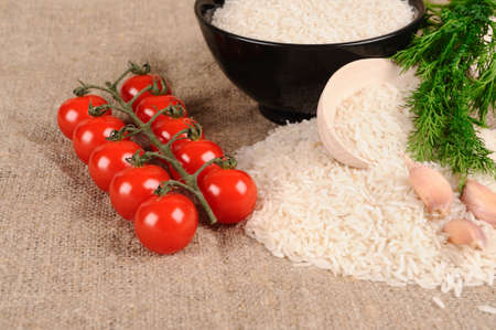 tomatto: Rice dill  tomatto garlic  on the canvas