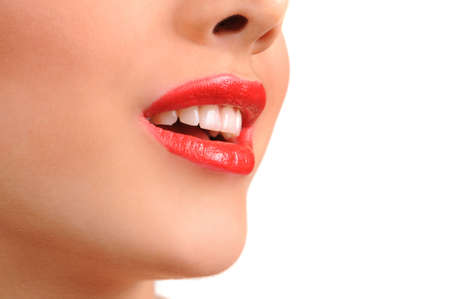 Close-up shot of woman lips with glossy red lipstick Stock Photo - 13257993