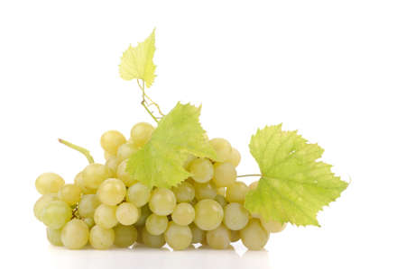 Branch of green grapes isolated on white Stock Photo - 15837110
