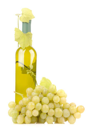 isolated wine bottle with green grapes Stock Photo
