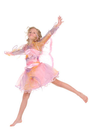 jumping girl on white background photo