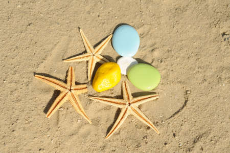 starfish with colorful pebble on sand photo