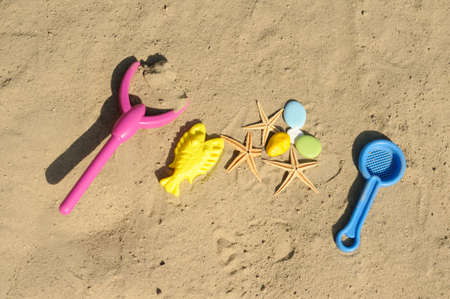 children toys on sand
