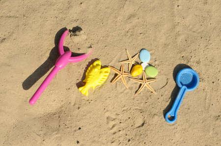 children toys on sand