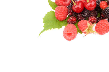 Sweet fresh raspberry fruit with green leaf