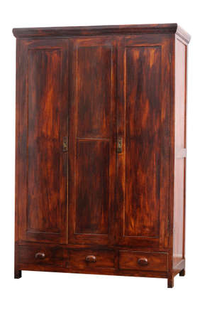 Old hancrafted cupboard isolated over white background. 19th century Stock Photo - 17332819