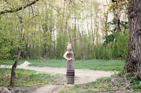 apri: attractive girl in the green  spring forest Stock Photo
