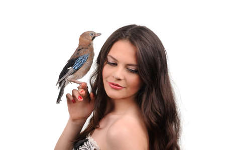 sexy girl posing: Portrait of beautiful girl with bird on the hand