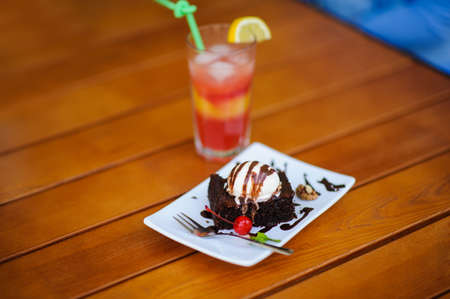 Ice Cream on the wooden table