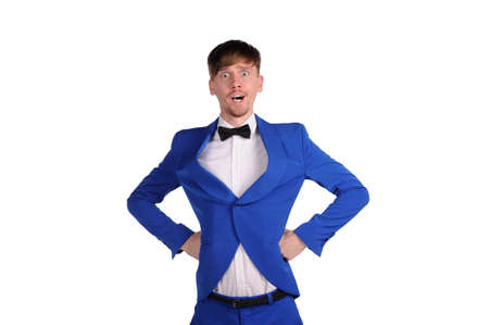 Funny man in blue suite with on white background  photo