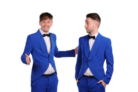 showman: Funny men  dressed in blue suite with different emotions