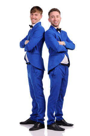 Funny men  dressed in blue suite with different emotions photo