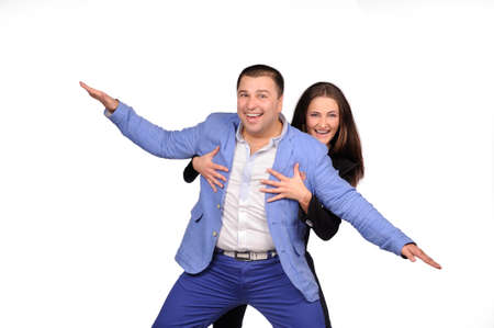 funny faces: Man and woman with funny faces isolated over white background