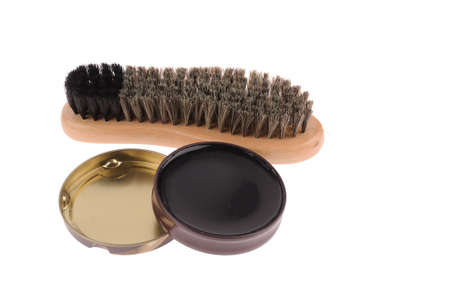 Shoe brush with wax isolated over white background Stock Photo
