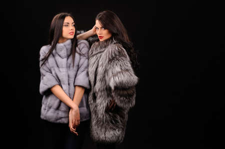 Beauty Fashion Model Girls in Blue Mink Fur Coat. Beautiful Luxury Winter Women
