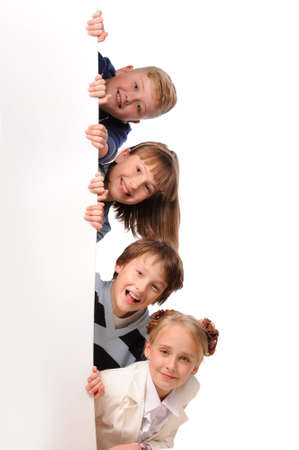 farward: Portrait of happy children with white blank isolated on white background