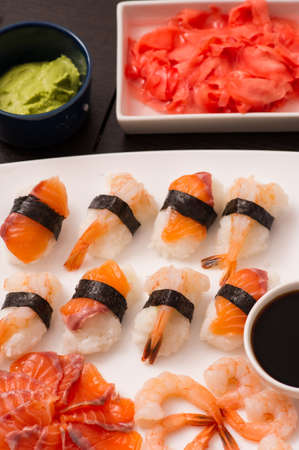 set of sushi on the wooden table