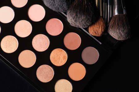 eyemakeup: professional cosmetics for make up on black background