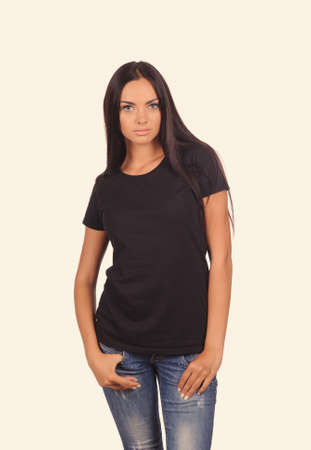 over black: girl in the black shirt isolated over white background