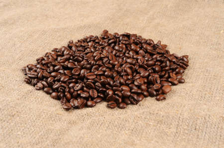cofe: coffee beans on a rough sacking