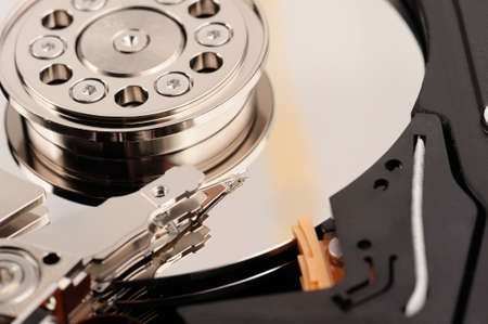 hard disk drive: opened hard disk drive close-up macro view Stock Photo