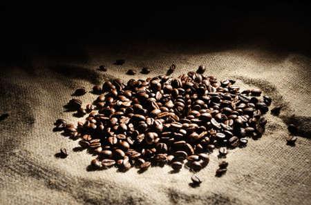 sacking: coffee beans on a rough sacking
