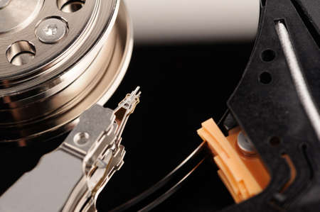 disk drive: opened hard disk drive close-up macro view Stock Photo