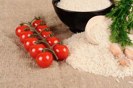 tomatto: Rice dill  tomatto garlic  on the canvas