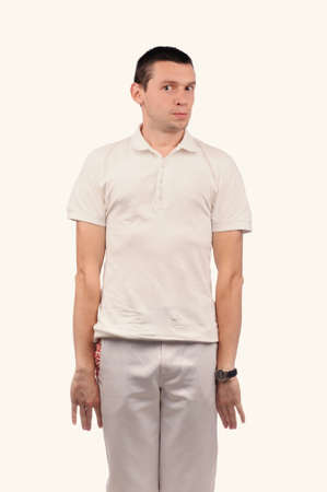 the showman: Funny man in white shirt with different emotions