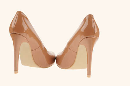 beige high heel women shoes isolated on white background Stock Photo