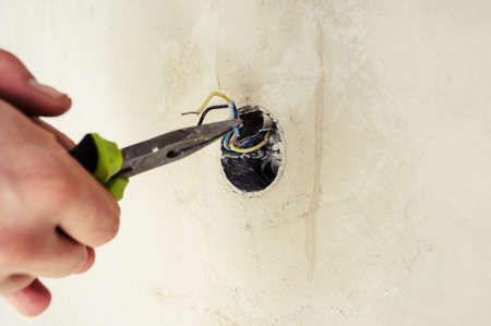 Perfect Electrical Renovation Work On Old House Installing New Power Lines Cables  Stock Photo   99280635