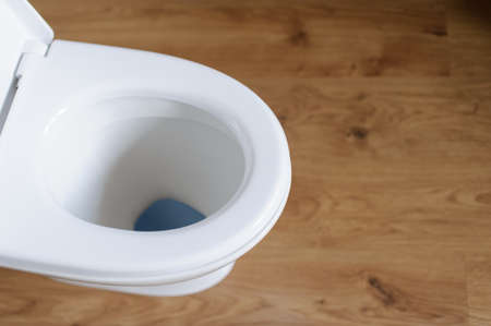 New ceramic toilet bowl indoors, top view